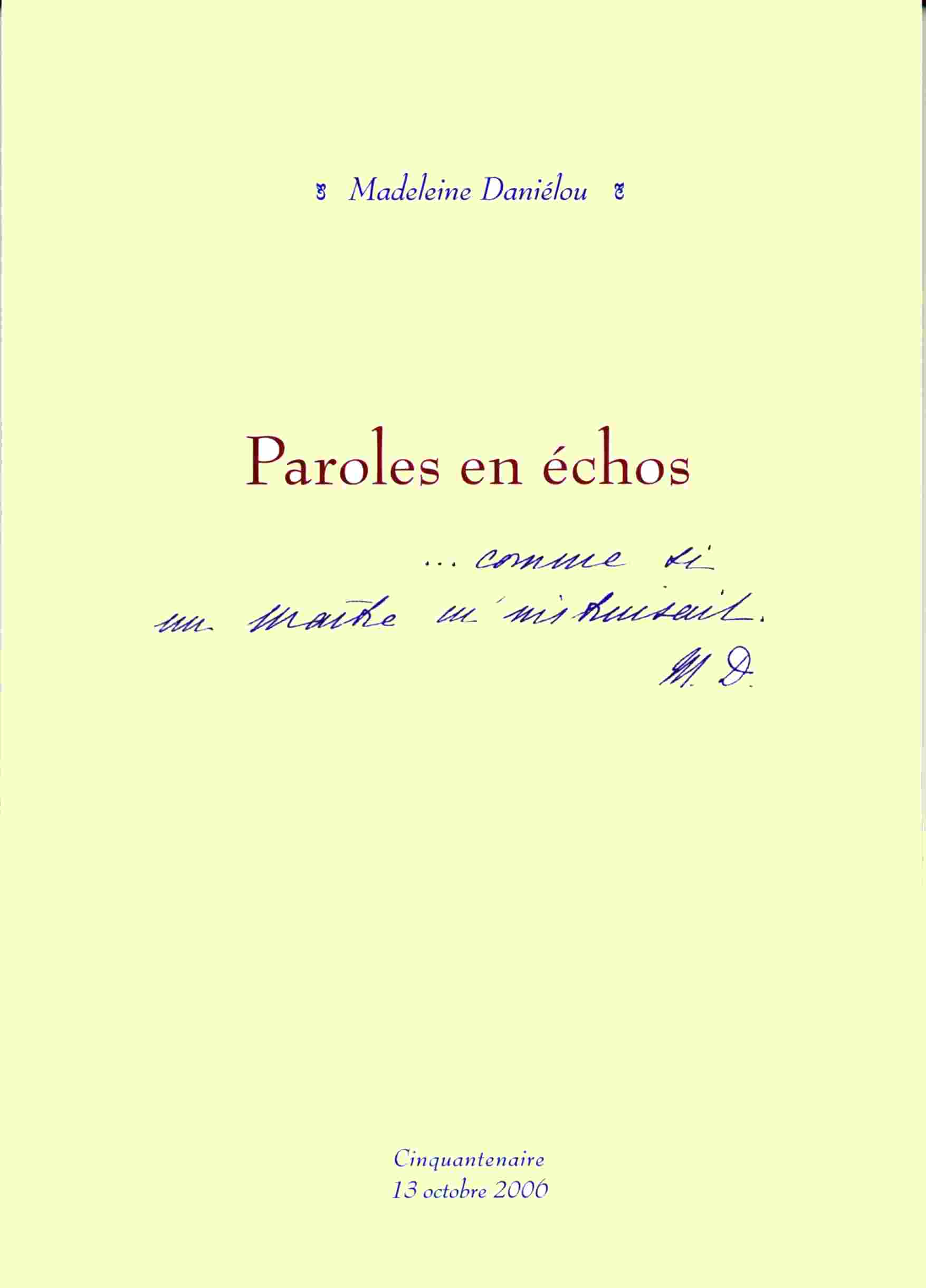 Paroles en échos